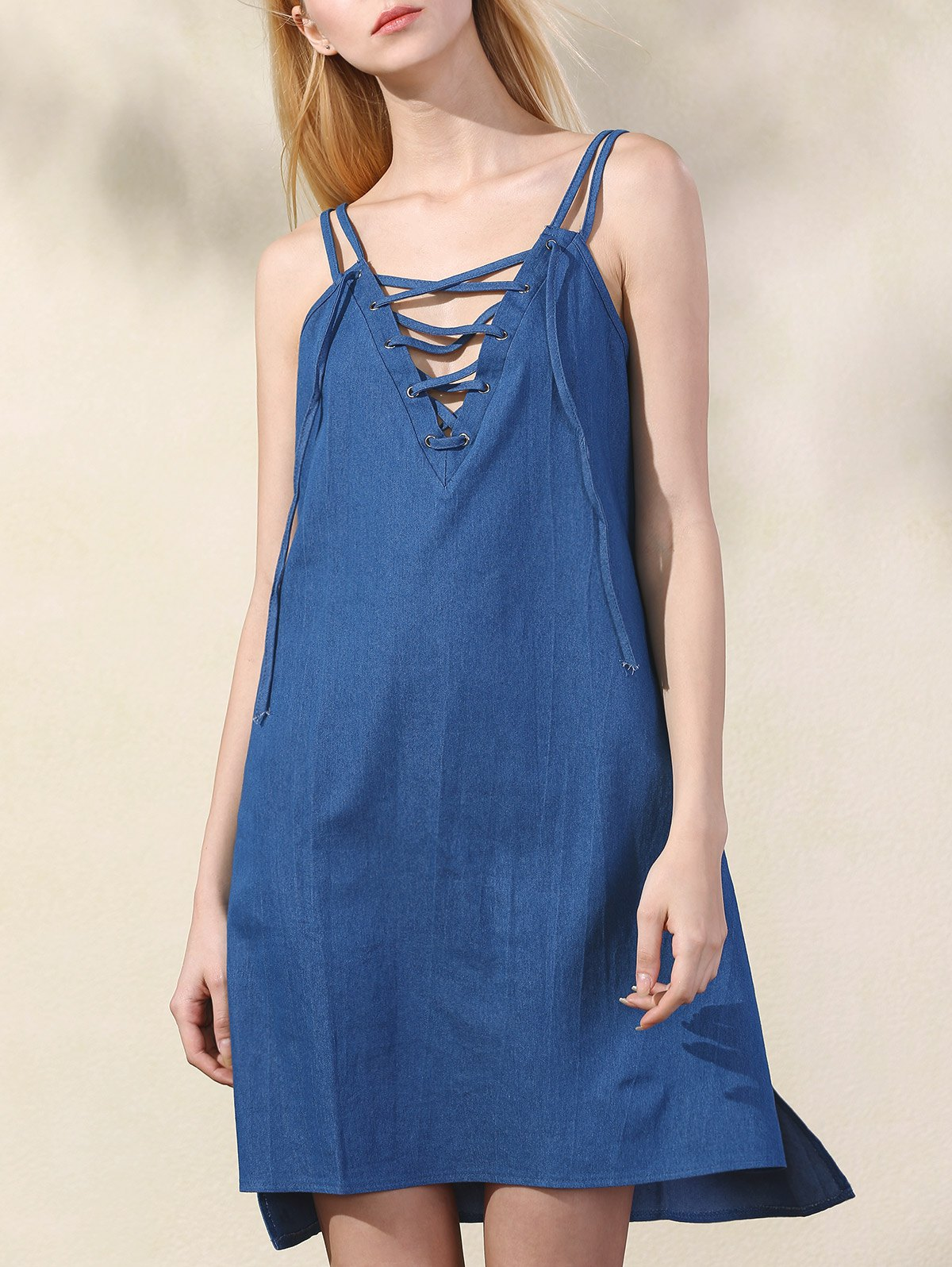 Lace Up Spaghetti Straps Chambray DressClothes<br><br><br>Size: S<br>Color: BLUE