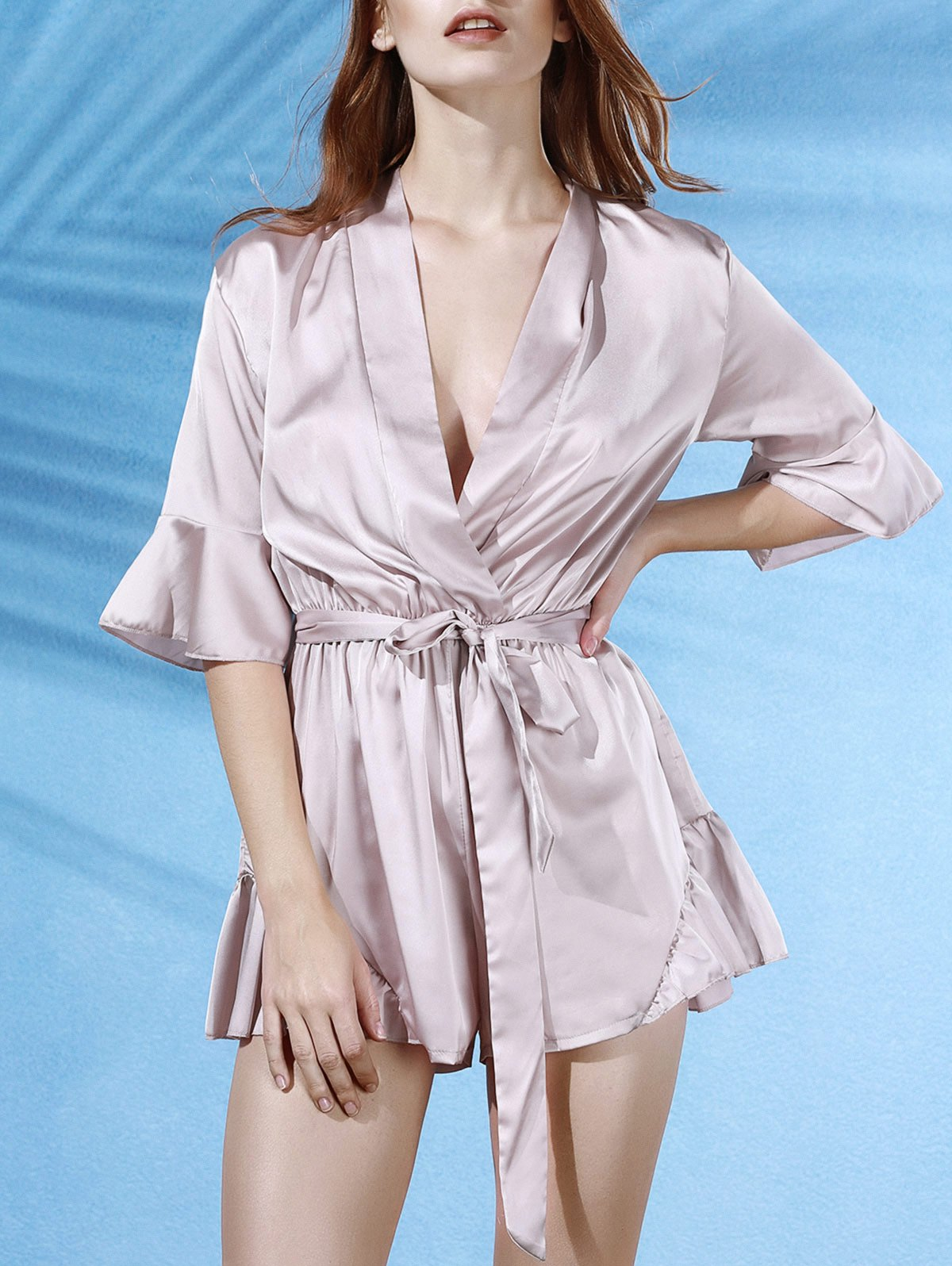 V-Neck Butterfly Sleeve Flouncing Spliced Wrap Romper