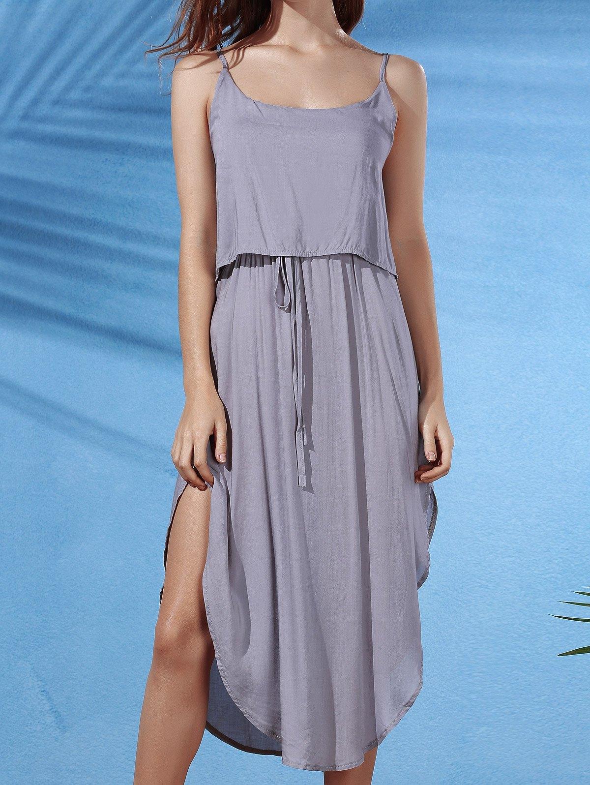 Irregular Hem Spaghetti Straps Drawstring Side Slit DressClothes<br><br><br>Size: S<br>Color: GRAY