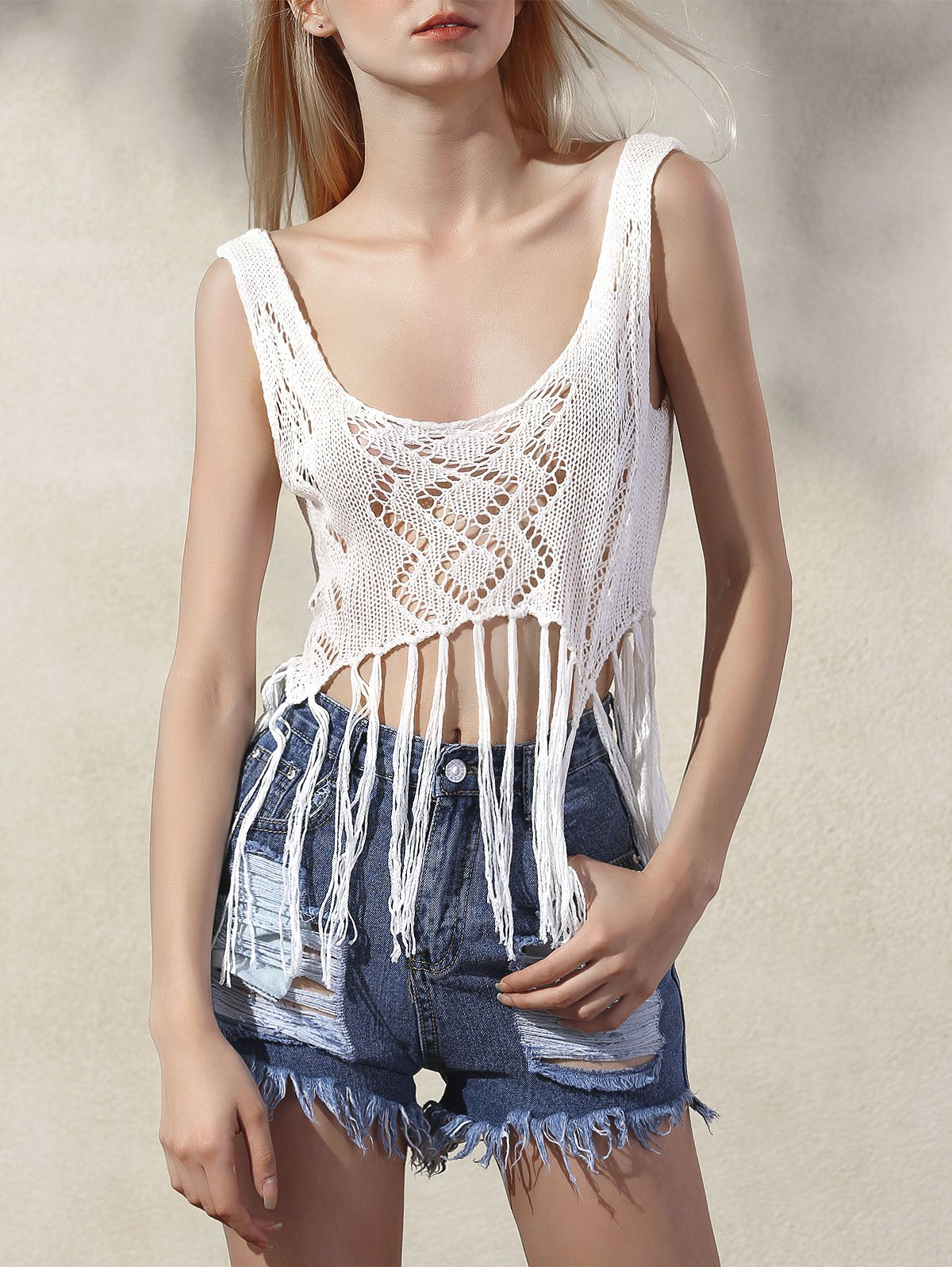 Fringed Knit Tank TopClothes<br><br><br>Size: ONE SIZE(FIT SIZE XS TO M)<br>Color: WHITE