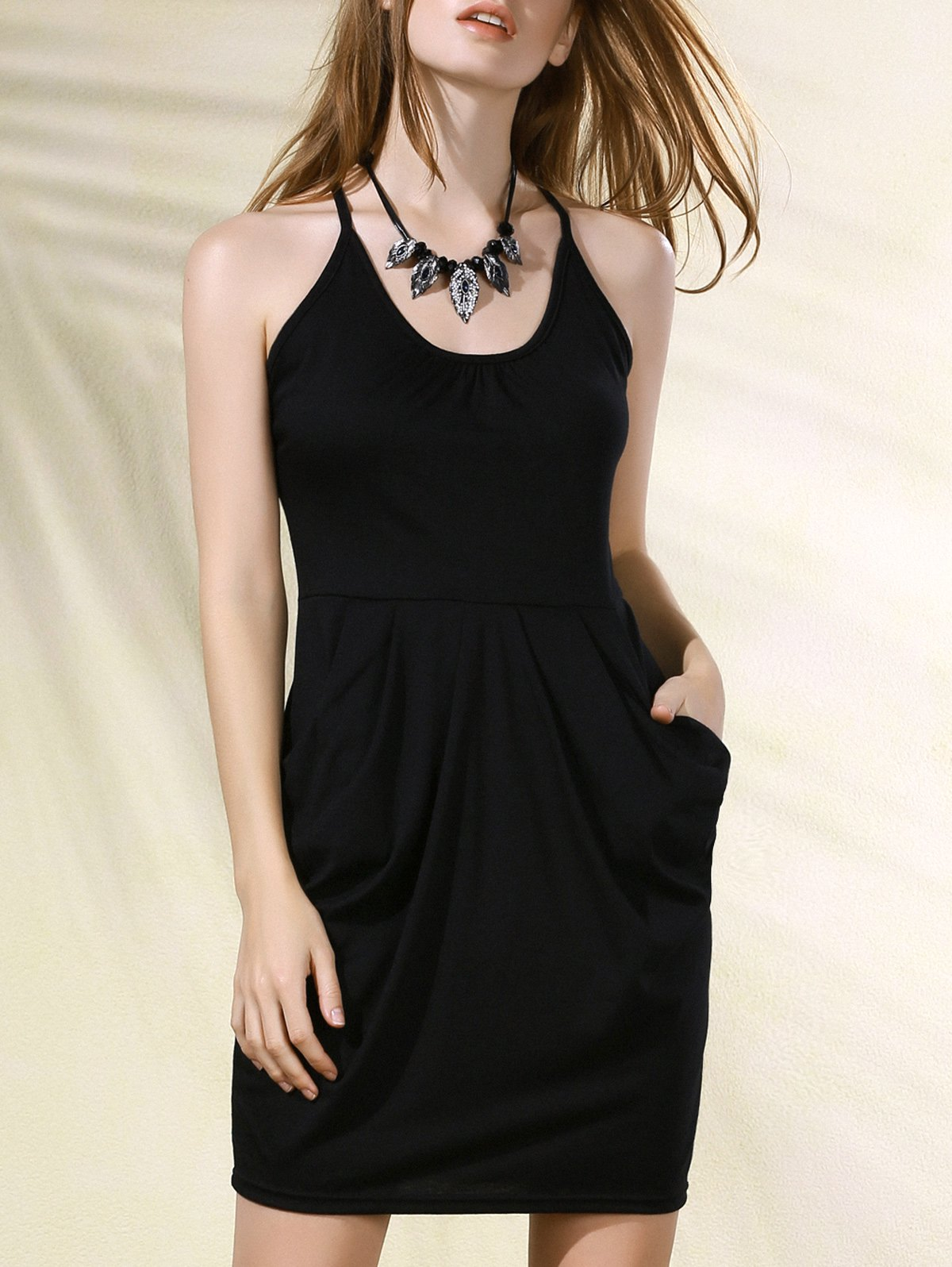 Spaghetti Strap Packet Buttocks Black Dress