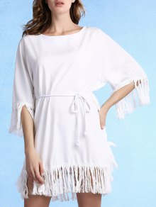 Buy Tassels Spliced Round Collar 3/4 Sleeve Dress - WHITE L