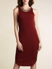 Solid Color Packet Buttock U Neck Sleeveless Dress