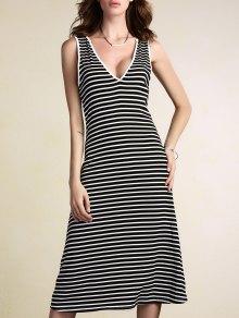 Stripe Plunging Neck Sleeveless Dress