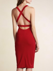 Hollow Back Sleeveless Bodycon Dress - Dark Red Xl