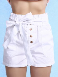 Solid Color High Waisted Belted Shorts - White