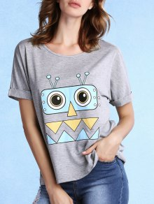 Rolled Sleeve Character Print Grey Tee - Gray L