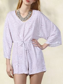 Printed Drawstring V-Neck Batwing Sleeve Romper - Apricot Xl