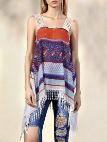 Printed Straps Tassels Spliced Tank Top - L