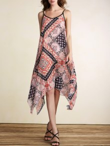 Loose Print Spaghetti Straps Sleeveless Dress - Jacinth Xl