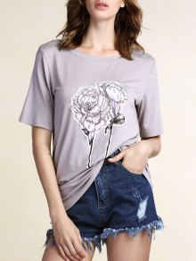 Floral Round Neck Short Sleeve Tee