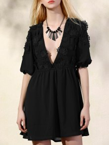 Flower Patchwork Plunging Neck 3/4 Sleeve Dress - Black S