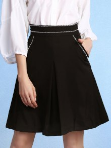 Black High Waisted Pockets A Line Skirt