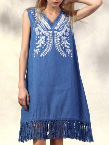 Retro Fringe Embroidered V Neck Sleeveless Dress - Denim Blue L