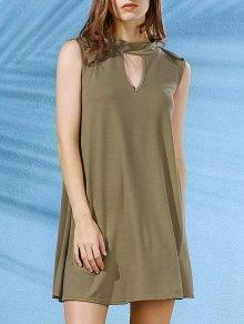 فستان بلا أكمام سوينغ - الجيش الأخضر L