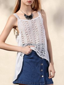 Hollow Out Irregular Hem Tank Top