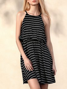 Striped Round Collar Waisted Dress - Black L