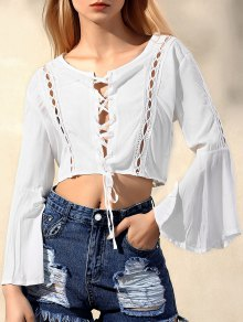 Lace Up Chiffon Flare Sleeve Blouse