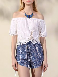 Print Hollow Off The Shoulder Romper