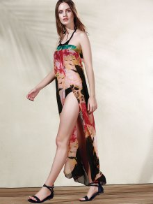 Beach Printed High Slit Strapless Cover Up Dress - YELLOW ONE SIZE(FIT SIZE XS TO M)
