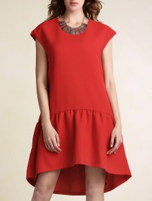 Red Ruffles High Low Short Sleeve Dress - Red 2xl