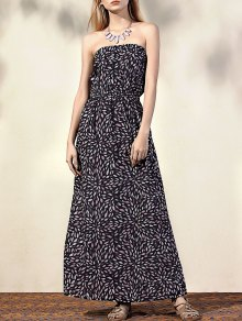 Printed Fitting Bandeau Sleeveless Maxi Dress - Black M
