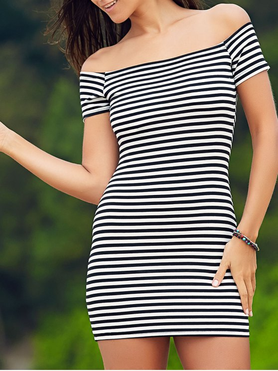 fashion Cold Shoulder Ribbed Dress - WHITE AND BLACK L
