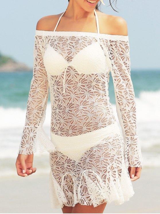 outfits Stylish Halter Neck Push Up Three-Piece Women's Bikini Set - WHITE L