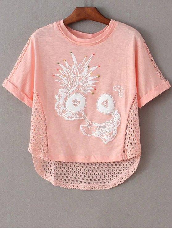 Impresos Recortable cuello redondo manga corta de la camiseta - Rosa XS