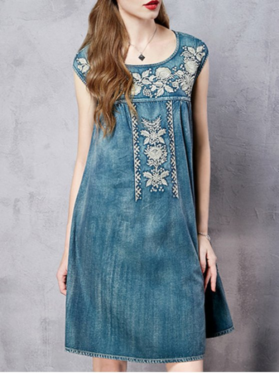 Retro Embroidery Round Neck Sleeveless Dress - BLUE M Mobile