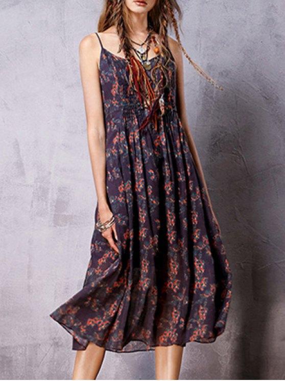 Bohemian Print Cami Sleeveless Dress - PURPLE M Mobile