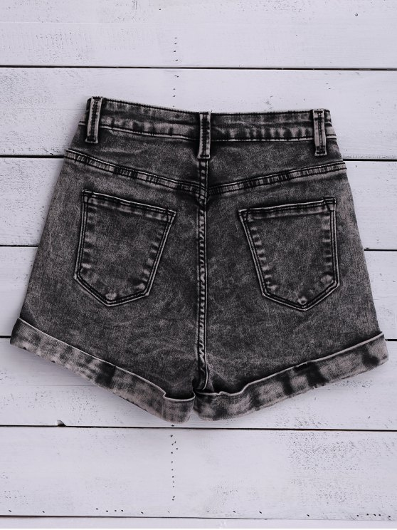 Snow Wash Denim Shorts - BLACK 28 Mobile