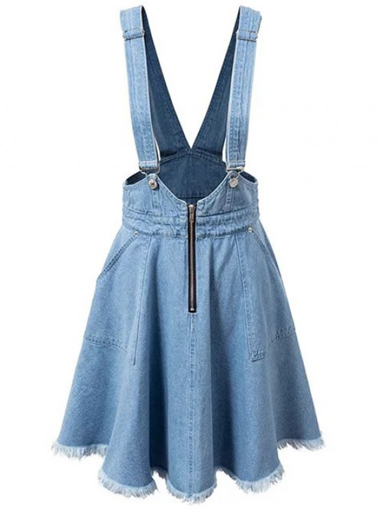ladies Denim Zipper Rough Selvedge Suspender Skirt - ICE BLUE M