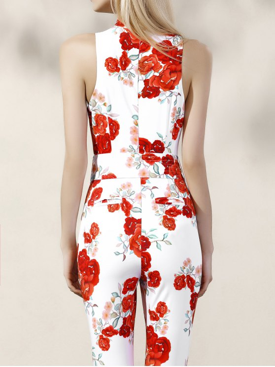 Floral Turtle Neck Sleeveless Jumpsuit - RED WITH WHITE XL Mobile