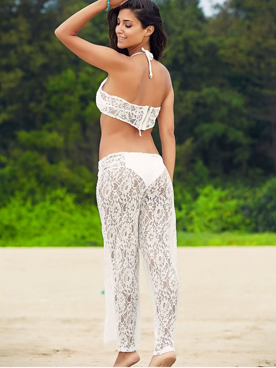 White Lace Crop Top and Wide Leg Pants Suit - WHITE L Mobile