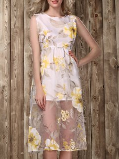 Midi Floral Print Dress - Golden L