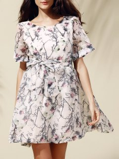 Sweet Short Sleeve Scoop Neck Floral Print Self-Tie Women's Dress - Off-white M