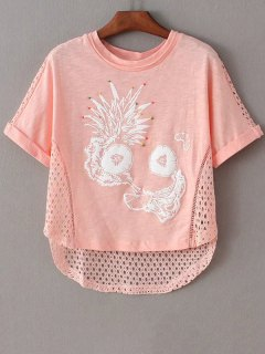 Printed Cut Out Round Neck Short Sleeve T-Shirt - Pink Xs