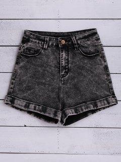 Snow Wash Denim Shorts - Black 24