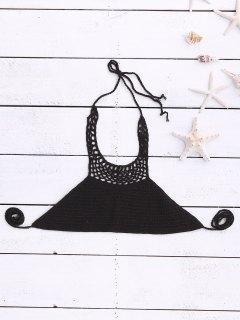 Halter Neck Crochet Bikini Top - Black