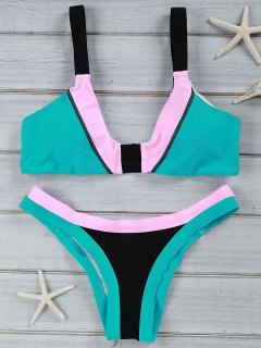 Chic Color Block U Neck Bikini Costume Maillots De Bain - Noir L