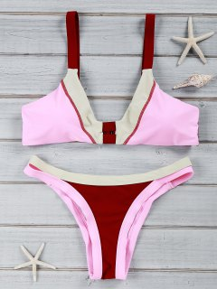 Chic Color Block U Neck Bikini Costume Maillots De Bain - Rouge Vineux  L