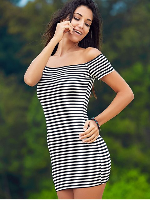 latest Cold Shoulder Ribbed Dress - WHITE AND BLACK S Mobile