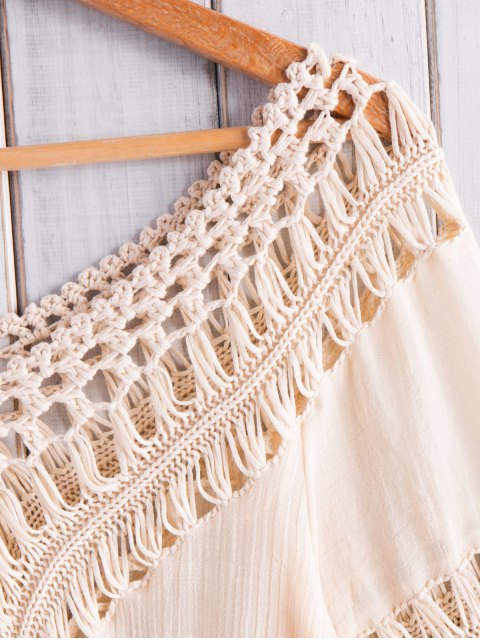 shop Fringed Crochet V-Shaped Blouse - APRICOT ONE SIZE(FIT SIZE XS TO M) Mobile