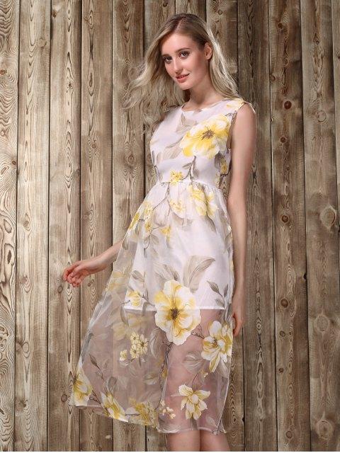 online Midi Floral Print Dress - GOLDEN XL Mobile