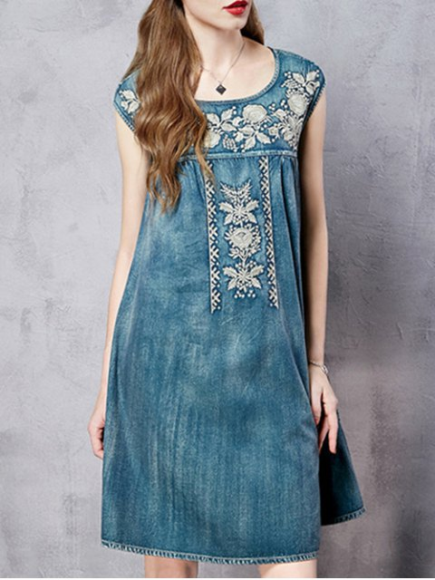 shop Retro Embroidery Round Neck Sleeveless Dress - BLUE M Mobile