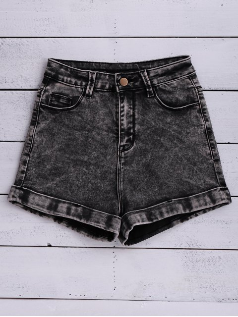 affordable Snow Wash Denim Shorts - BLACK 28 Mobile