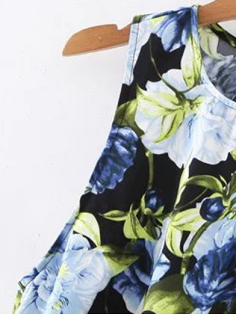 sale Floral Round Neck Mini Dress - BLACK S Mobile