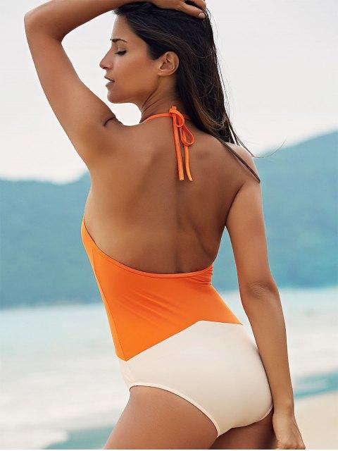 best See-Through High Neck One Piece Swimwear - ORANGE M Mobile