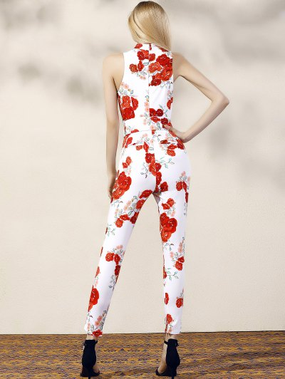 Floral Turtle Neck Sleeveless Jumpsuit - RED WITH WHITE M Mobile